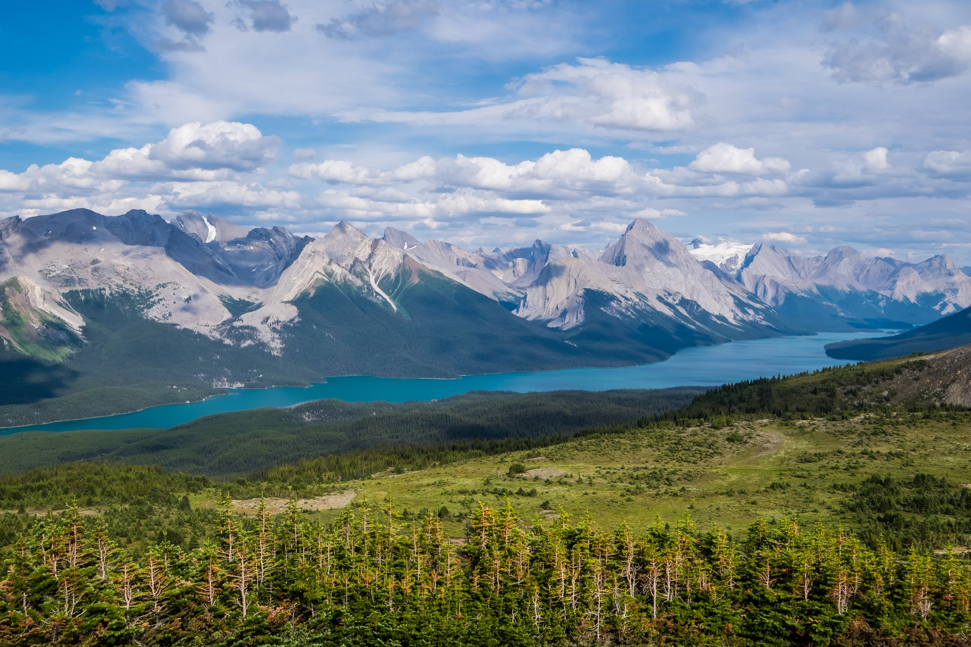 Views of Maligne Lake from Bald Hills hike - Jasper