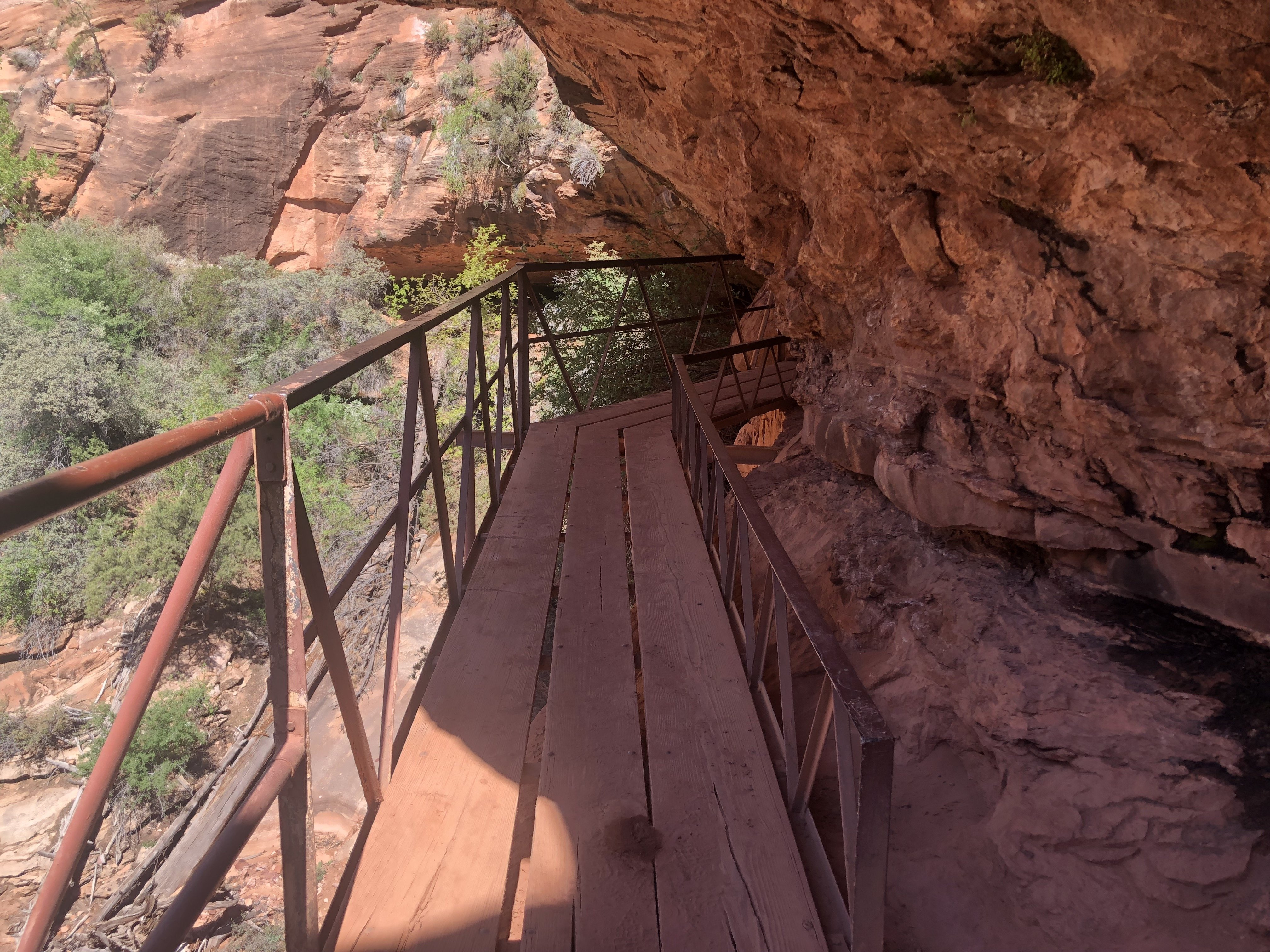 A wooden walkway encountered while hiking Canyon Overlook Trail