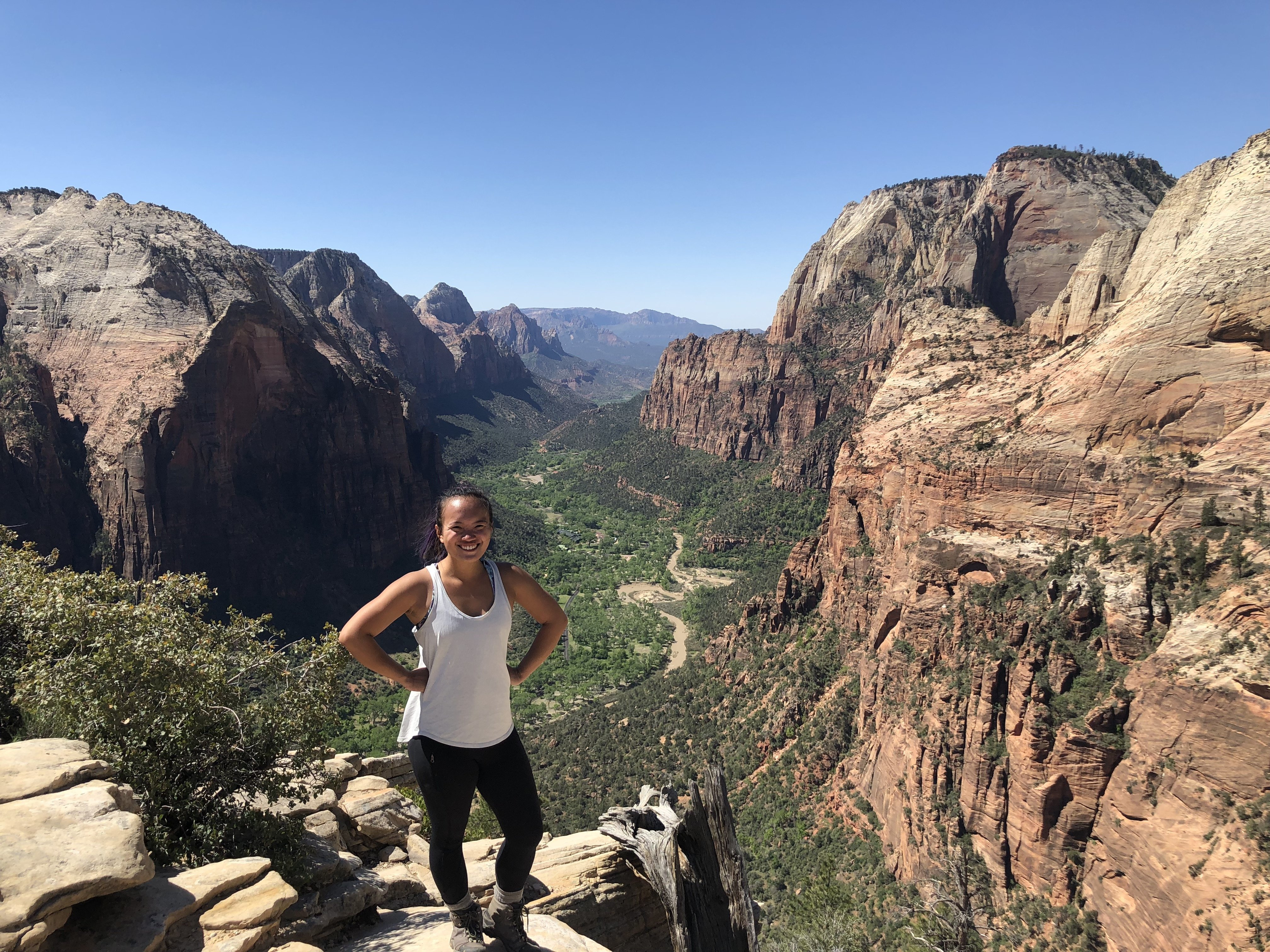 The author standing on the edge of a rock at Angels Landing